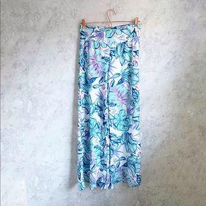 Aryeh Wide Leg Hibiscus Print Palazzo Pants M blue
